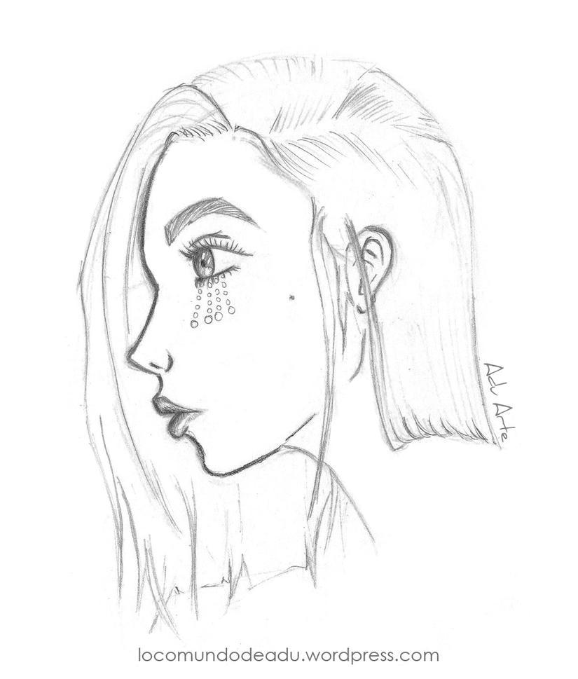 Sketch (chica de perfil) - by Adu Arte