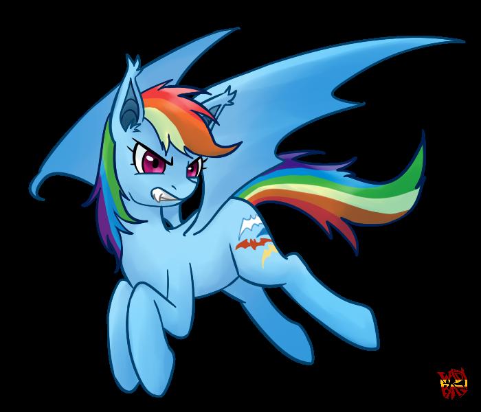 Rainbow Dash Bat by norang94