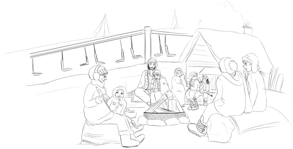 People Arount Campfire By RocaTeithmore