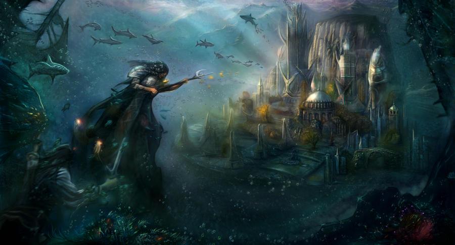 Underwater temple Poseidon by GutsBerserk
