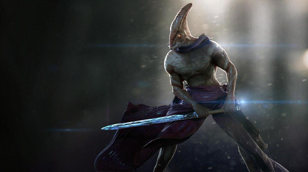 Sparring Alien Swordsman. by GutsBerserk