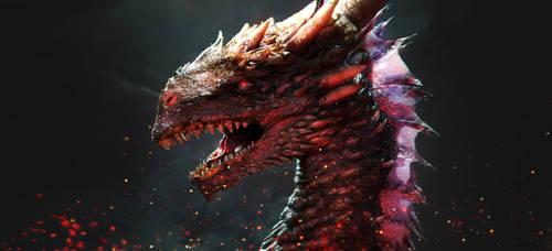 Horned Dragon Head 3D