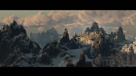 Hyborian mountain snow city by Joseph-C-Knight