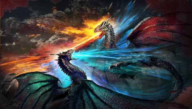 Dragon Red and Blue