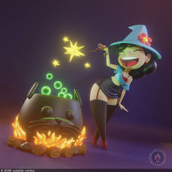 Cute Witch pinup by Volatile-Vertex