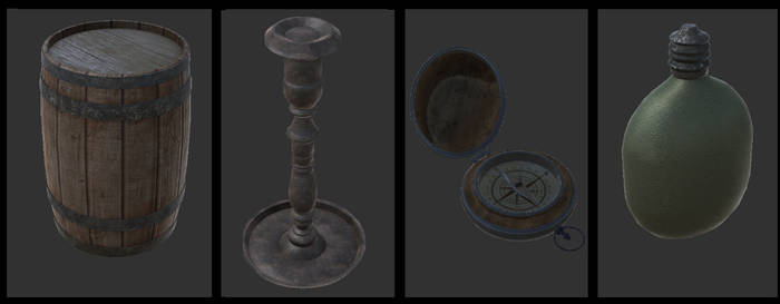 barrel,candlestick,compass and flask