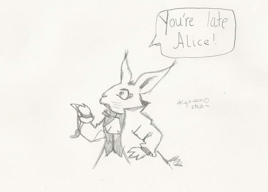 Alice in wonderland white rabbit drawing