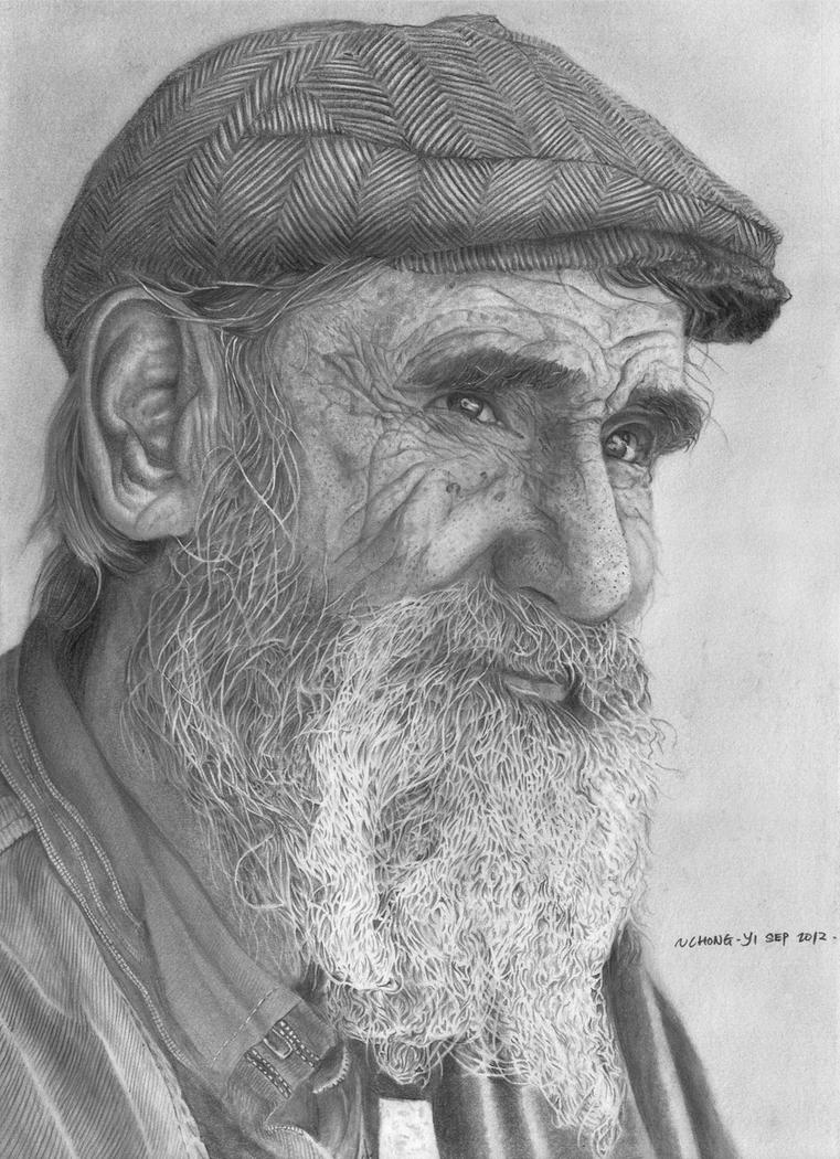 old mans face drawing - photo #38