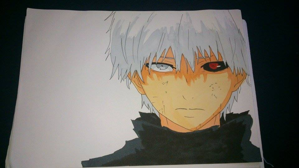 Tokyo ghoul first copic marker drawing by for Cool things to draw with markers