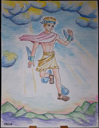 Hermes, painting on canvas by Elikal