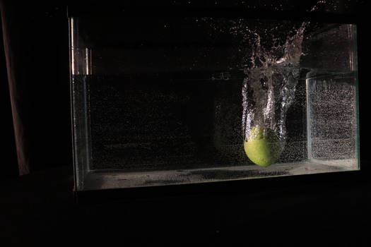 Apple being dropped into a water tank