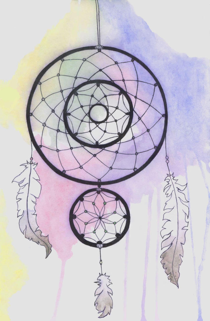 Watercolour Dream Catcher by BlueGirraffexx