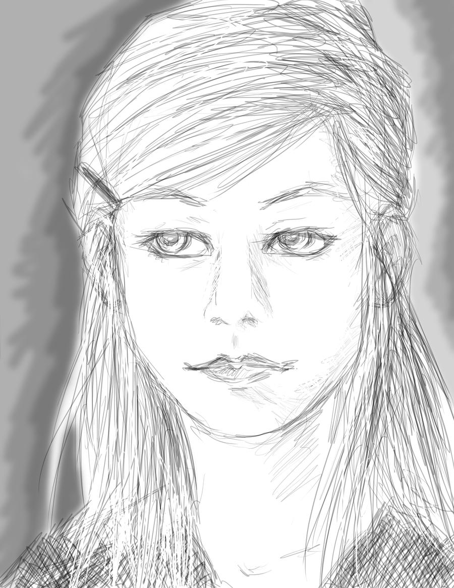 realistic girl sketch by hollowheartlessizsak on deviantart