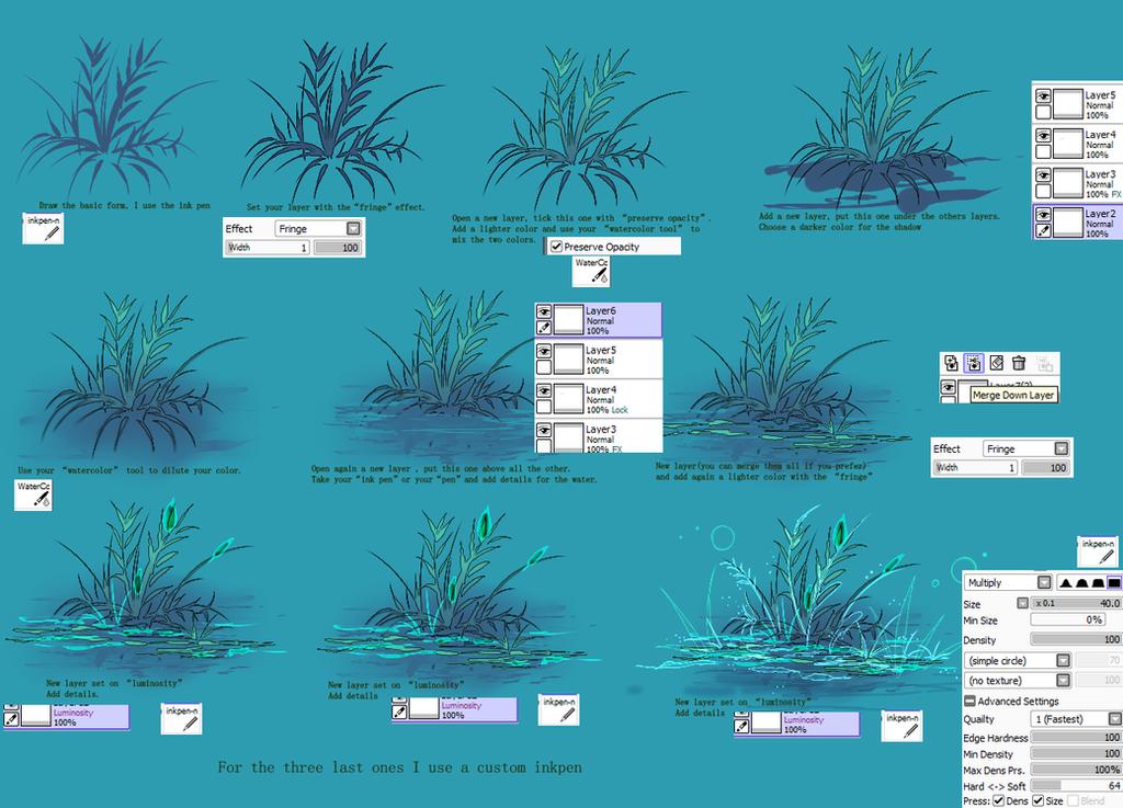 Grass(on water) tutorial SAI by Kirimimi