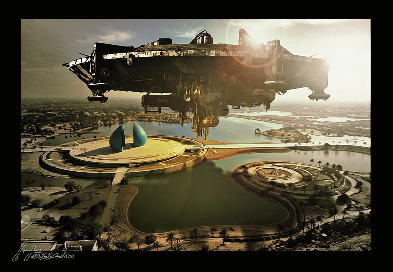 Spaceship on Al-Shaheed Monument - Iraq 2099 by algburi