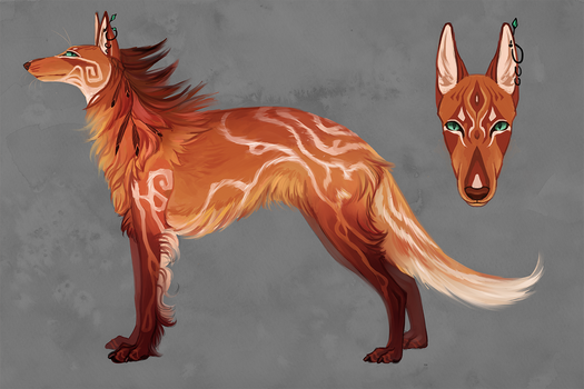 Hybrid of Russian borzoi and a maned wolf {closed}