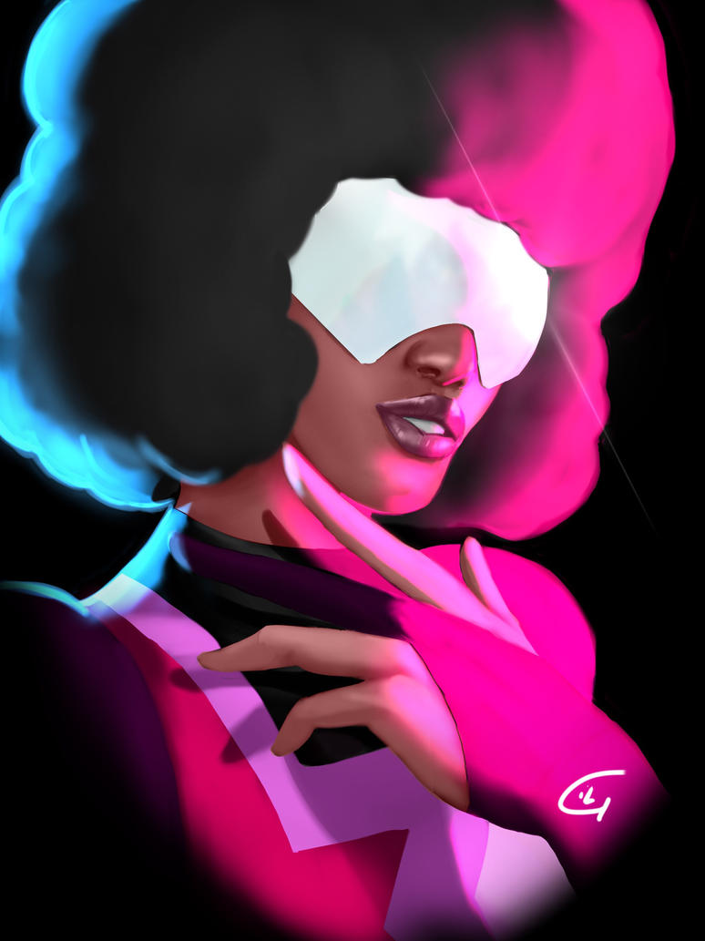 "Decided to do Garnet first !(afro is a challenge mind you) I've been listening to ""Stronger than you"" alot My painting time is getting faster,used to take me 5 days to complete a bust shot,now it t..."