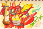 Fire Valkyrie VF-19kai Battroid (Birthday Card)