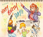 DJ Miwaku no Kunio and friends (Birthday card)