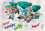 Macross x Sonic Birthday card for Gwyn