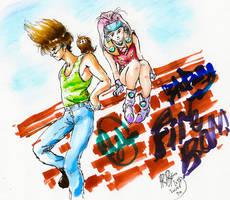 Mylene and Basara in Akusho (Macross 7)