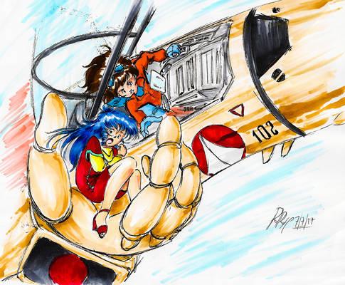 Hikaru and Minmay in VF-1D (Macross)