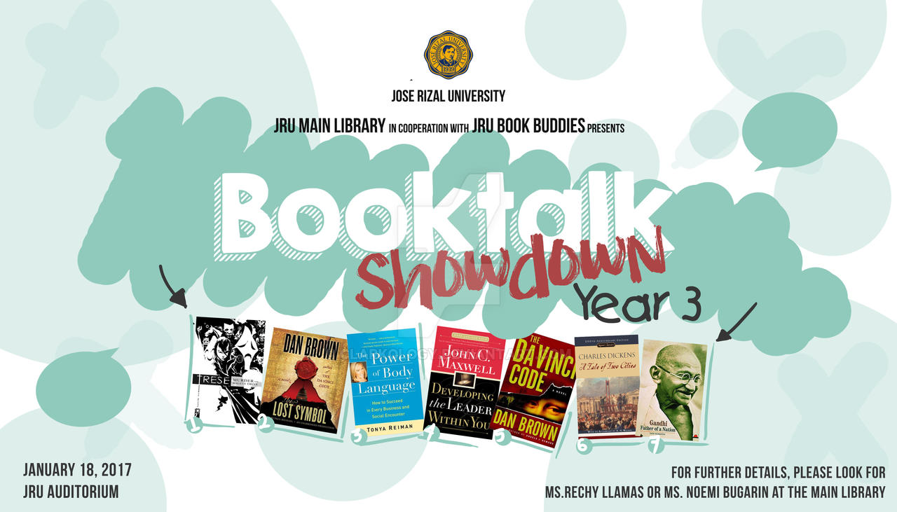 Booktalk Showdown design for JRU Book Buddies by Clarkology