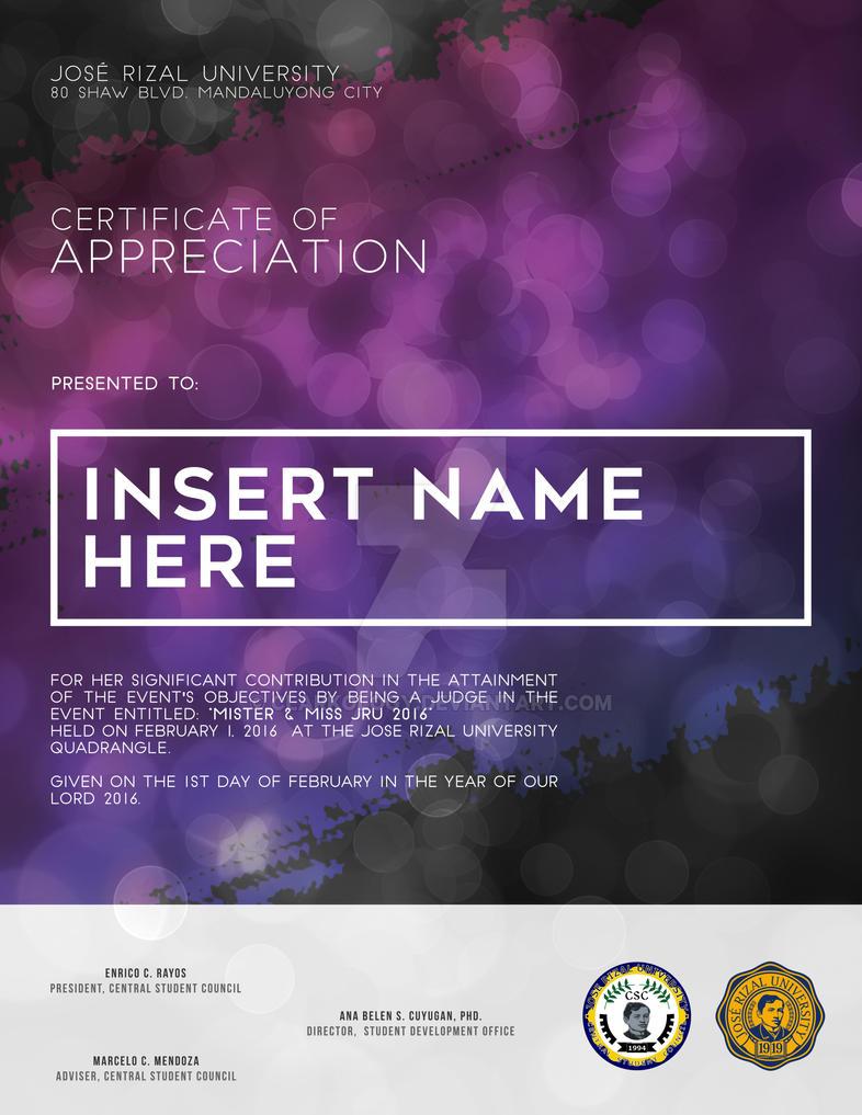 Certificate Design for MMJRU by Clarkology