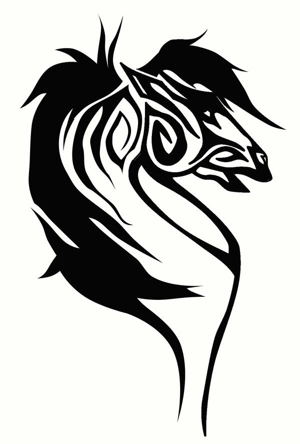 tribal horse head tattoo designs. Black Bedroom Furniture Sets. Home Design Ideas