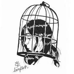 Inktober day 2: mindless + cage