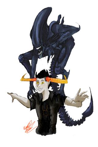 Tavros and Xenomorph by honking-capricorn