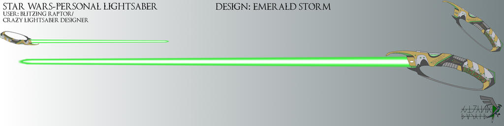 Star Wars Personal Lighsaber Emerald Storm by BlitzingRaptor