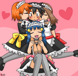 Ash, Dawn, May and Misty Maids by Endless-Rainfall