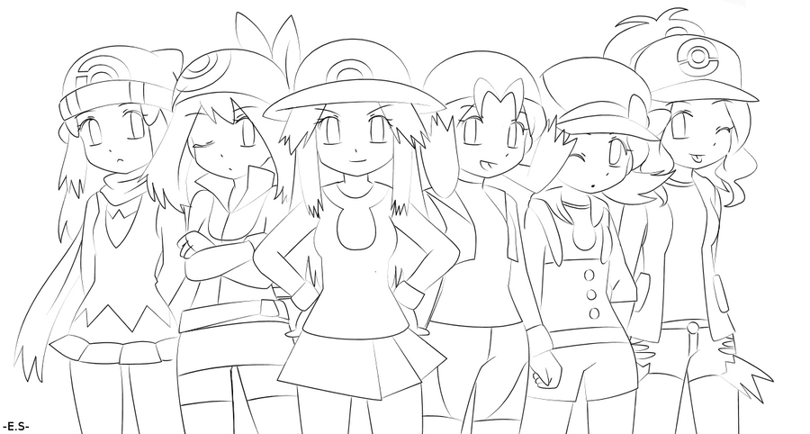 Pokemon Game Girls Lineart by Endless-Rainfall on DeviantArt