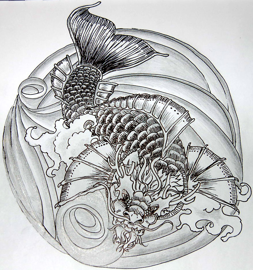 Dragon koi tattoo flash for Japanese koi dragon