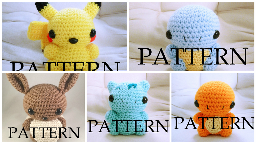 Crochet Patterns Pokemon : Amigurumi Pokemon Pattern Pack of Five by The-love-of-Crochet on ...
