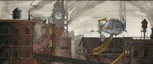 Steampunk City Destruction by remillardart