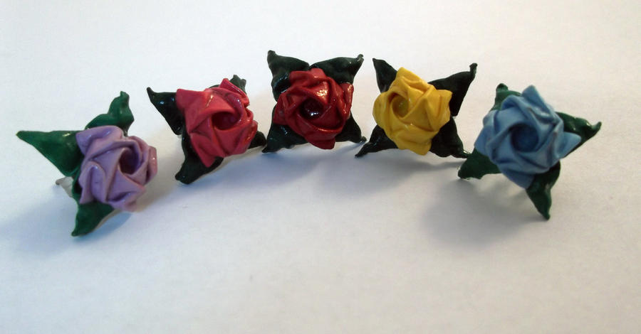 Origami Rose Earrings by PeryB