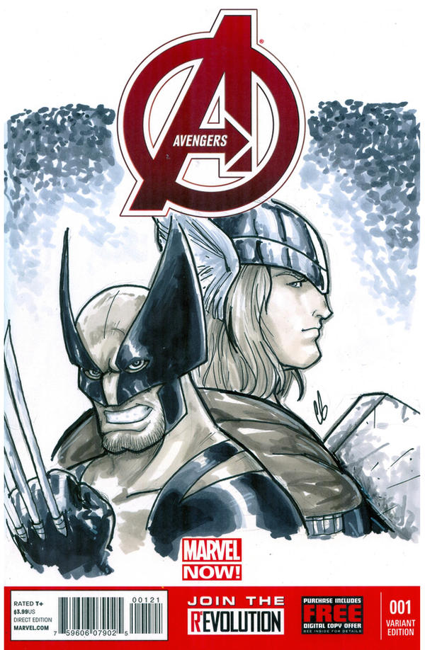 Avengers Sketch Cover Featuring Wolverine And Thor By BigChrisGallery On DeviantArt