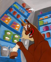 Faux Unicorn in Freezer by tursiart
