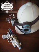 Steampunk Pith Helmet and gun by tursiart