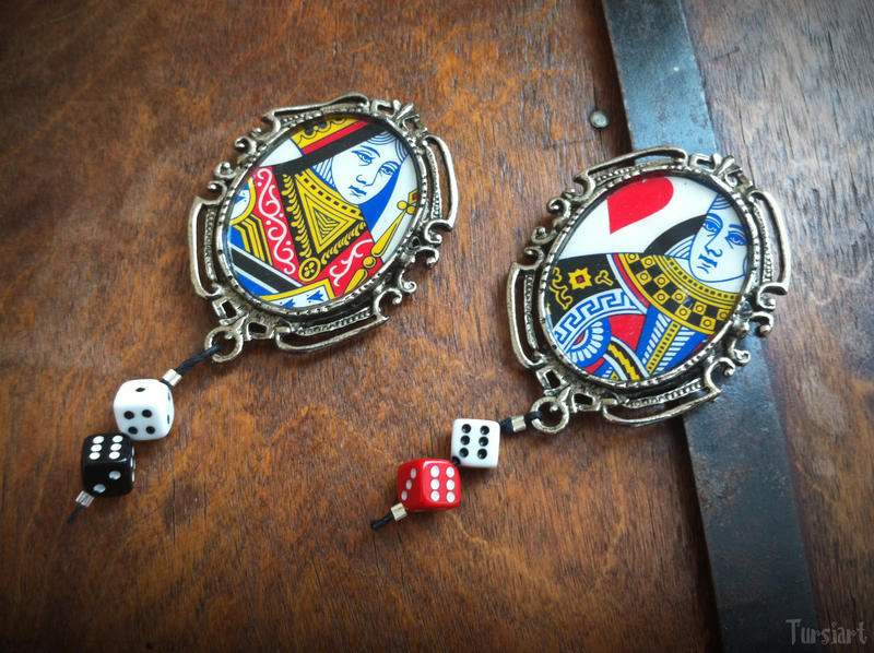 Poker Queens and Dice Brooches by tursiart