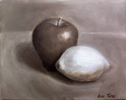 Monochromatic Apple and Lemon Still Life