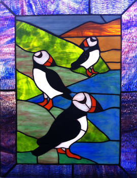 Stained Glass Puffins 2