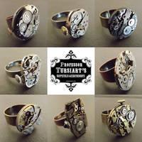 Eight Steampunk Watch Innard Rings by tursiart