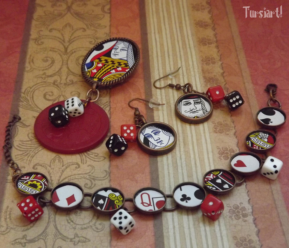 Copper poker chip playing cards jewelry set by tursiart