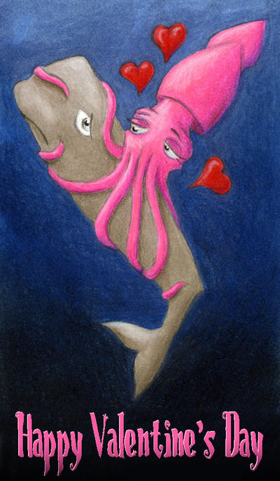 Amorous Squid and Reluctant Whale by tursiart