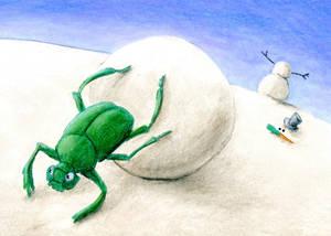 Dung Beetle Building a Snowman ATC