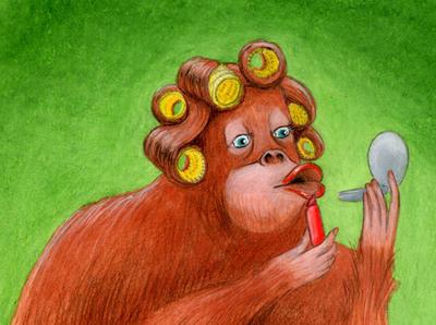 Beautiful Orangutan - Art Trading Card by tursiart