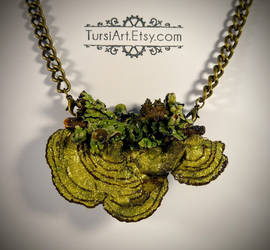 Mushroom and Lichen Pendant Brooch combo